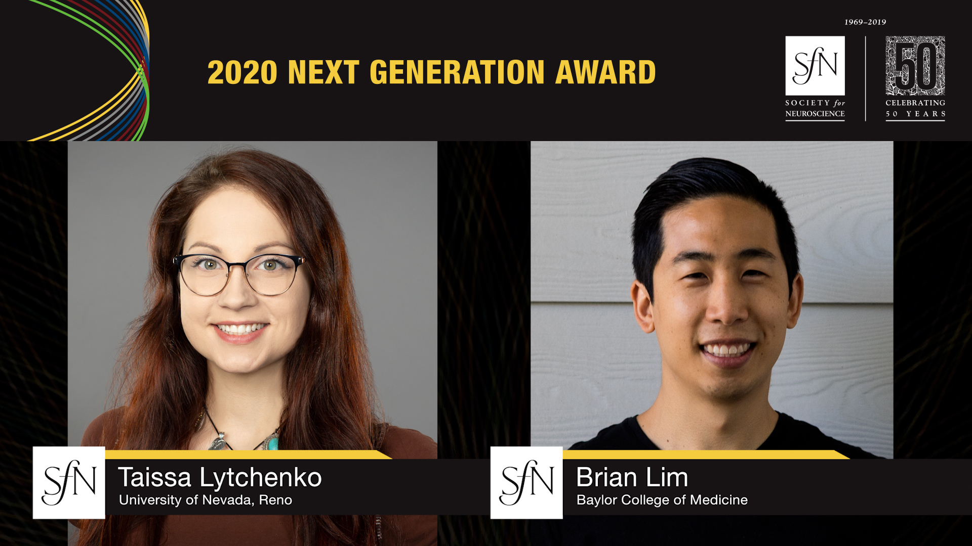 2020 Next Generation Award Winners graphic, images of Tassia Lytchenko University of Nevada, Reno and Brian Lim Baylor College of Medicine