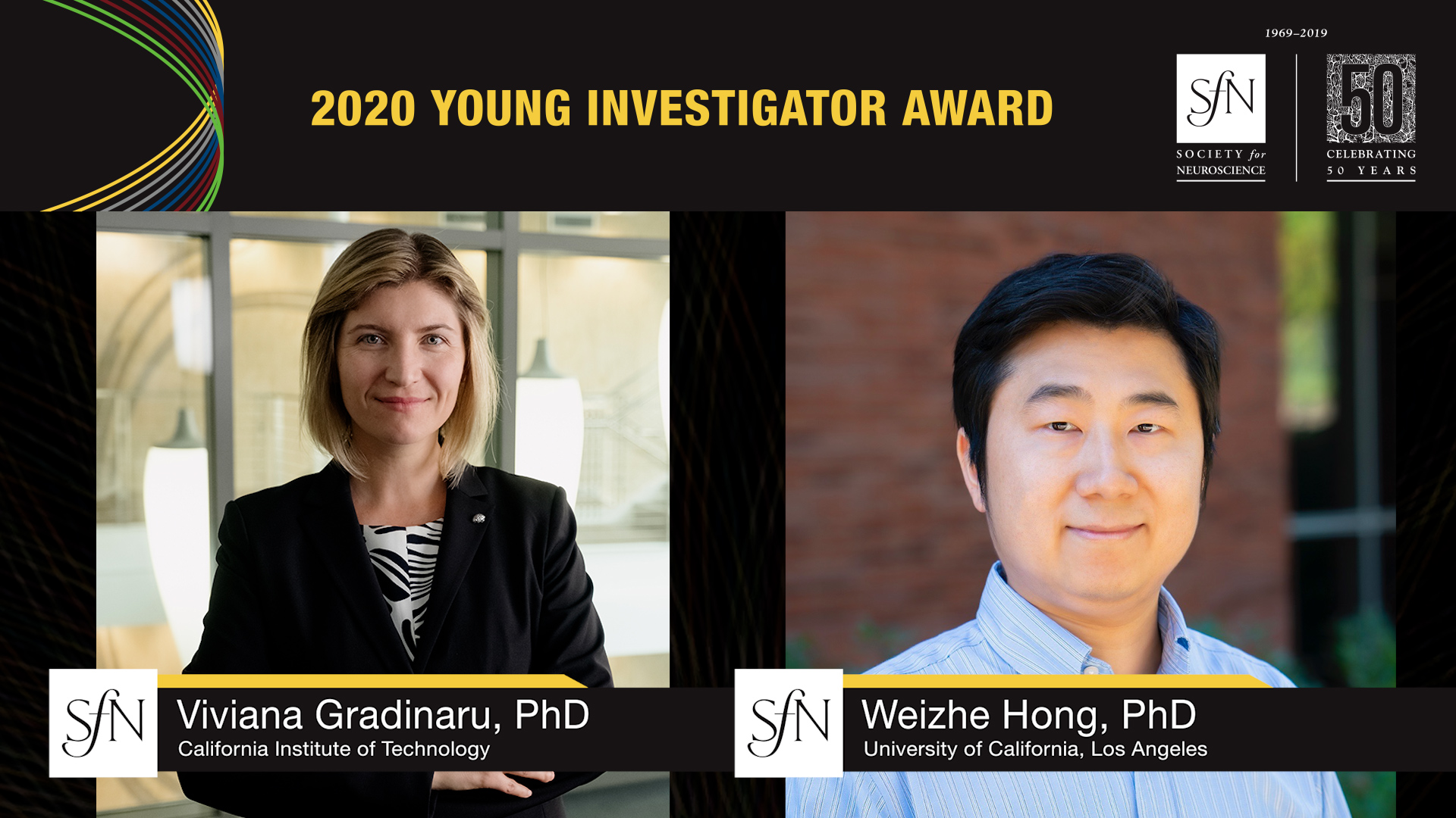 2020 Young Investigator Award winners graphic, images of Viviana Gradinaru, PhD California Institute of Technology and Weizhe Hong, PhD University of California, Los Angeles